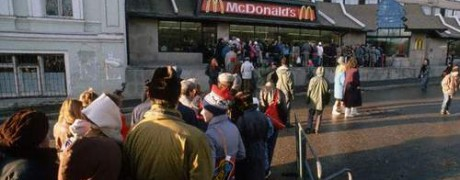 Long line at McDonald's